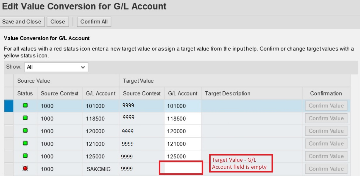 Edit Value Conversion for GL Accou
