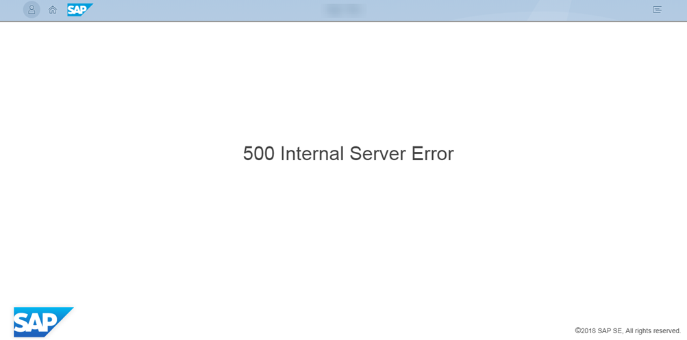 500 Error screen