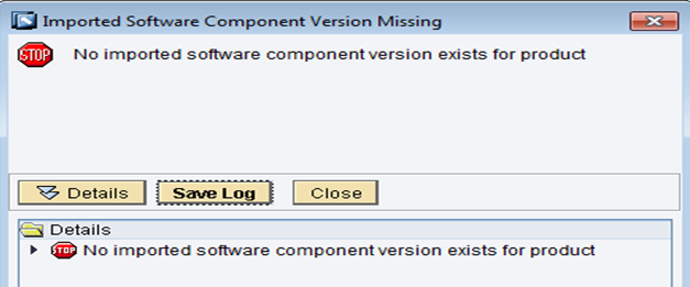 No imported software component version exists for product.PNG